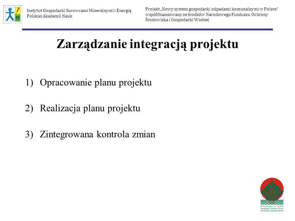 Zarządzanie integracją projektu 1)Opracowanie planu projektu 2)Realizacja planu projektu 3)Zintegrowana kontrola zmian Projekt Nowy system gospodarki