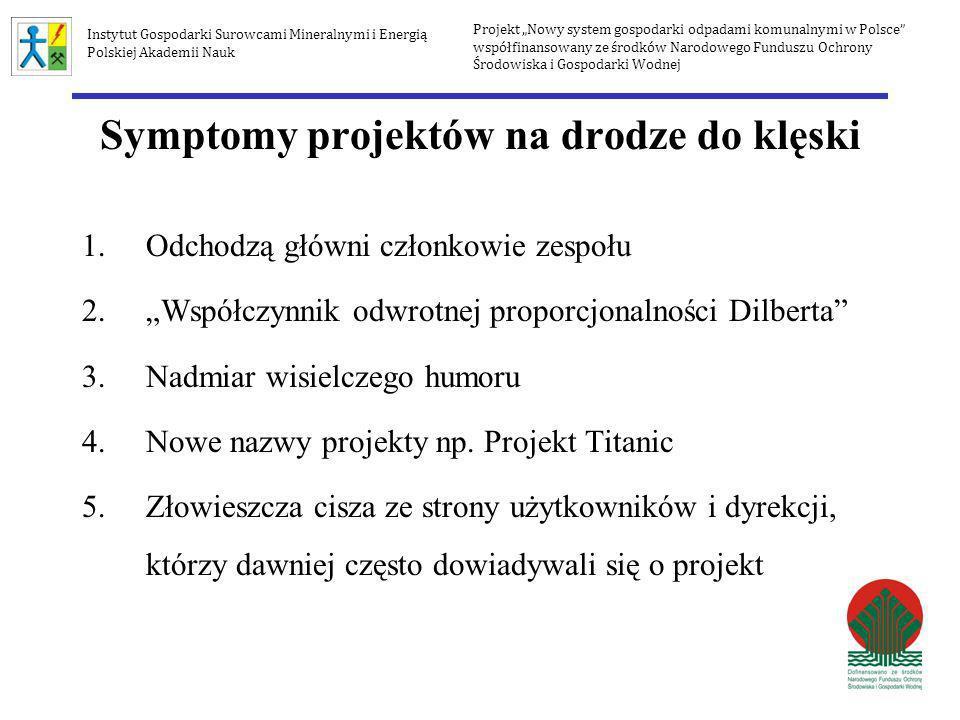 Symptomy projektów na drodze do klęski 1.Odchodzą główni członkowie zespołu 2.Współczynnik odwrotnej proporcjonalności Dilberta 3.Nadmiar wisielczego