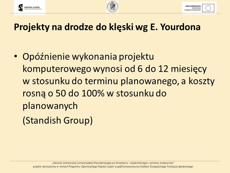 Kierunki zamawiane Uniwersytetu Przyrodniczego we Wrocławiu - biotechnologia i ochrona środowiska projekt realizowany w ramach Programu Operacyjnego Kapitał Ludzki wspófinansowany ze środków Europejskiego Funduszu Społecznego Projekty na drodze do klęski wg E.