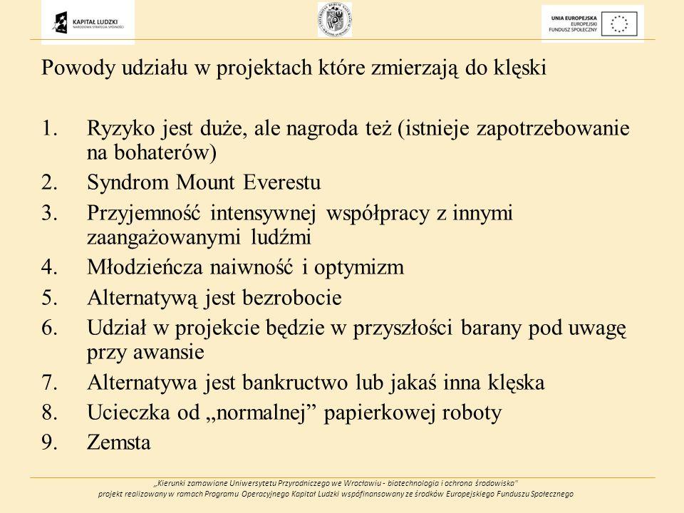 Kierunki zamawiane Uniwersytetu Przyrodniczego we Wrocławiu - biotechnologia i ochrona środowiska projekt realizowany w ramach Programu Operacyjnego Kapitał Ludzki wspófinansowany ze środków Europejskiego Funduszu Społecznego Powody udziału w projektach które zmierzają do klęski 1.Ryzyko jest duże, ale nagroda też (istnieje zapotrzebowanie na bohaterów) 2.Syndrom Mount Everestu 3.Przyjemność intensywnej współpracy z innymi zaangażowanymi ludźmi 4.Młodzieńcza naiwność i optymizm 5.Alternatywą jest bezrobocie 6.Udział w projekcie będzie w przyszłości barany pod uwagę przy awansie 7.Alternatywa jest bankructwo lub jakaś inna klęska 8.Ucieczka od normalnej papierkowej roboty 9.Zemsta