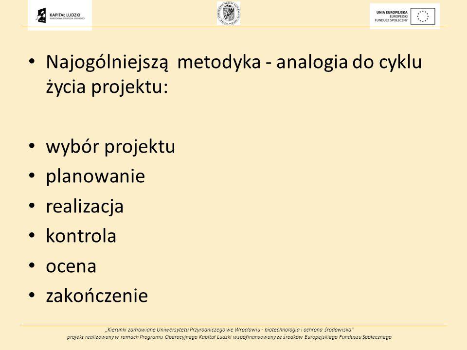 Kierunki zamawiane Uniwersytetu Przyrodniczego we Wrocławiu - biotechnologia i ochrona środowiska projekt realizowany w ramach Programu Operacyjnego Kapitał Ludzki wspófinansowany ze środków Europejskiego Funduszu Społecznego Najogólniejszą metodyka - analogia do cyklu życia projektu: wybór projektu planowanie realizacja kontrola ocena zakończenie