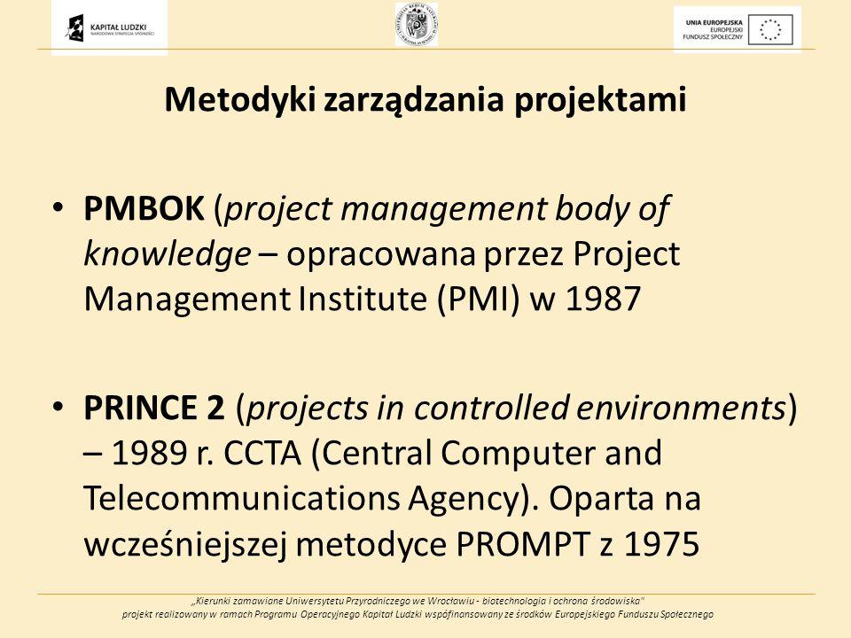 Kierunki zamawiane Uniwersytetu Przyrodniczego we Wrocławiu - biotechnologia i ochrona środowiska projekt realizowany w ramach Programu Operacyjnego Kapitał Ludzki wspófinansowany ze środków Europejskiego Funduszu Społecznego Metodyki zarządzania projektami PMBOK (project management body of knowledge – opracowana przez Project Management Institute (PMI) w 1987 PRINCE 2 (projects in controlled environments) – 1989 r.