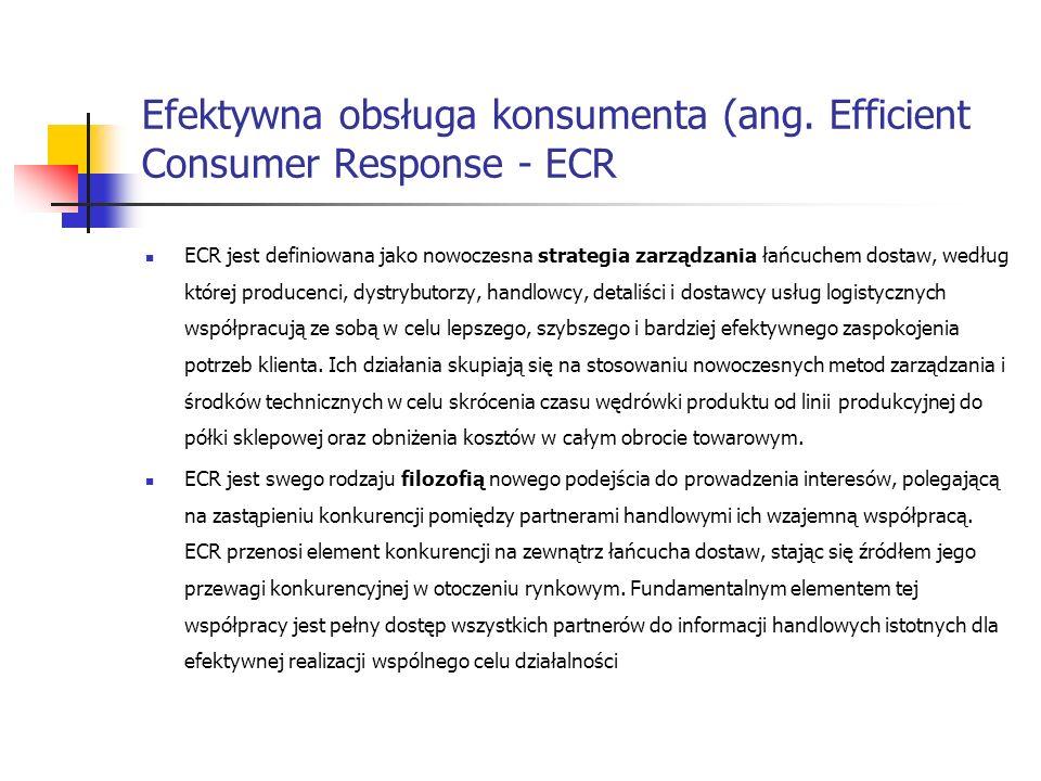 Efektywna obsługa konsumenta (ang. Efficient Consumer Response - ECR ECR jest definiowana jako nowoczesna strategia zarządzania łańcuchem dostaw, wedł