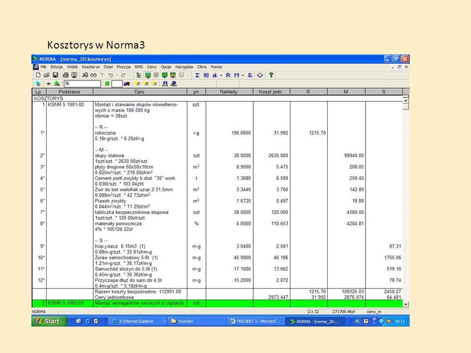 Kosztorys w Norma3