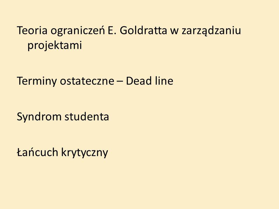 Teoria ograniczeń E. Goldratta w zarządzaniu projektami Terminy ostateczne – Dead line Syndrom studenta Łańcuch krytyczny