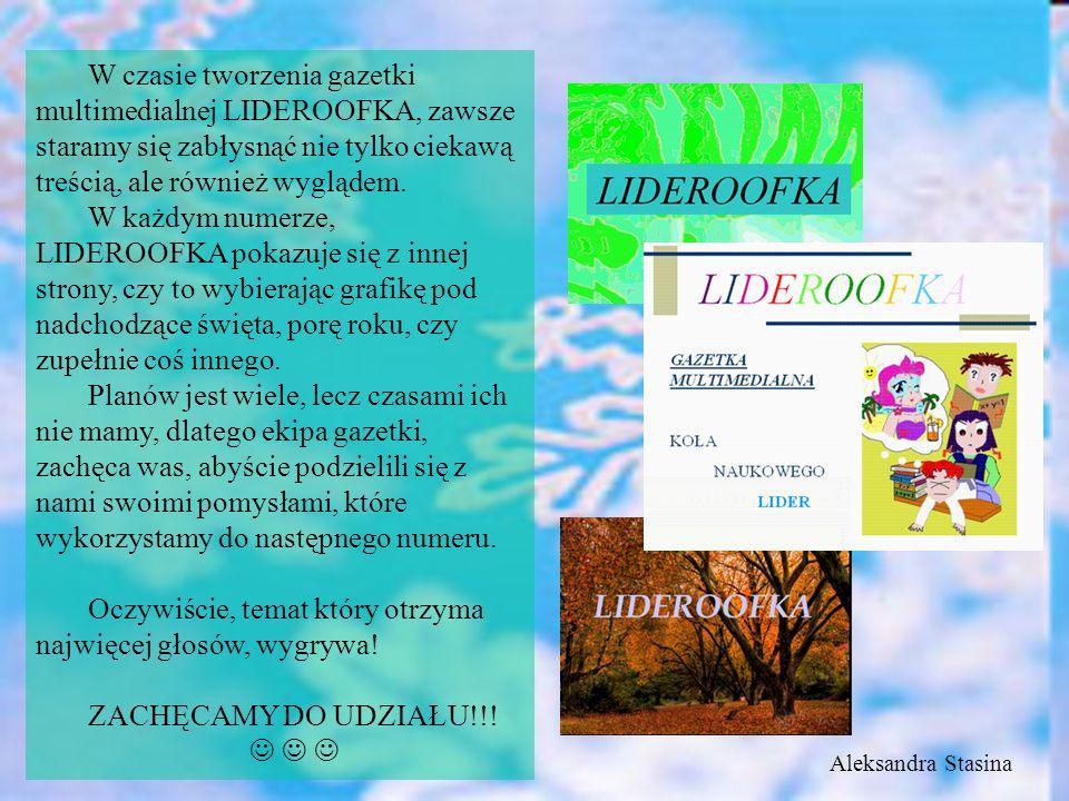 W czasie tworzenia gazetki multimedialnej LIDEROOFKA, zawsze staramy się zabłysnąć nie tylko ciekawą treścią, ale również wyglądem.