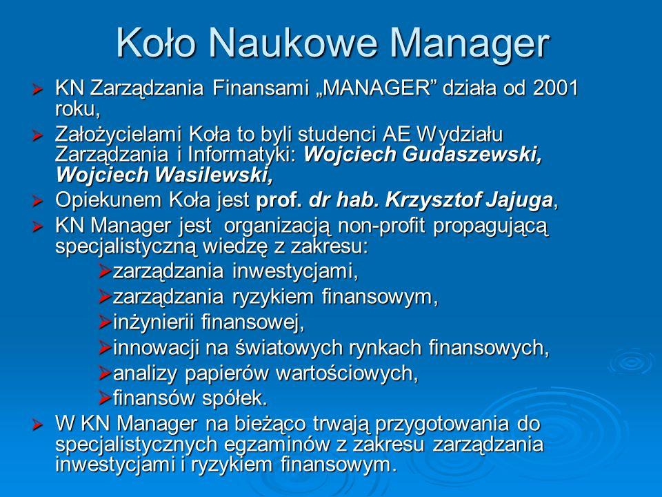 Koło Naukowe Manager KN Zarządzania Finansami MANAGER działa od 2001 roku, KN Zarządzania Finansami MANAGER działa od 2001 roku, Założycielami Koła to byli studenci AE Wydziału Zarządzania i Informatyki: Wojciech Gudaszewski, Wojciech Wasilewski, Założycielami Koła to byli studenci AE Wydziału Zarządzania i Informatyki: Wojciech Gudaszewski, Wojciech Wasilewski, Opiekunem Koła jest prof.