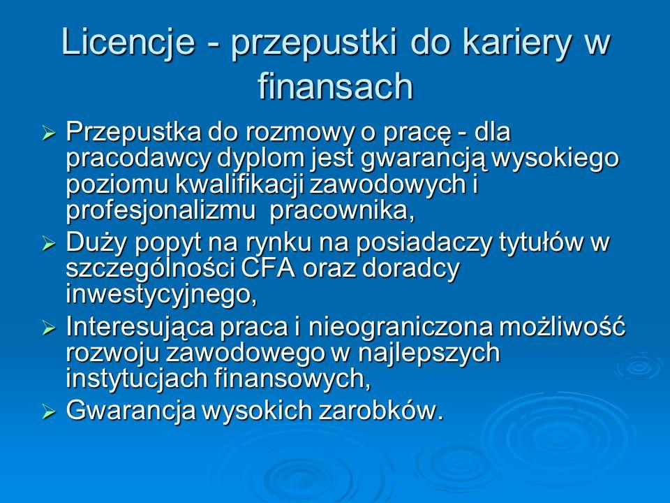 Jak wygląda egzamin Organizowany przez KNF (www.knf.gov.pl), Organizowany przez KNF (www.knf.gov.pl),www.knf.gov.pl Jeden etap – 120 pytań, test jednokrotnego wyboru Jeden etap – 120 pytań, test jednokrotnego wyboru Koszt: 500 zł, egzamin uzupełniający – 150 zł, Koszt: 500 zł, egzamin uzupełniający – 150 zł, Termin: raz lub dwa razy w roku w Warszawie, Termin: raz lub dwa razy w roku w Warszawie, Aby być maklerem papierów wartościowych trzeba posiadać co najmniej średnie wykształcenie, Aby być maklerem papierów wartościowych trzeba posiadać co najmniej średnie wykształcenie, Zakres tematyczny podobny do doradcy, jednak mniej szczegółowy, Zakres tematyczny podobny do doradcy, jednak mniej szczegółowy, Na start 2-3 tysiące złotych, ale w biurze maklerskim w stolicy makler z kilkuletnim stażem może zarobić nawet do 20 tys.