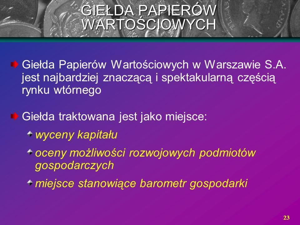 23 Giełda Papierów Wartościowych w Warszawie S.A. jest najbardziej znaczącą i spektakularną częścią rynku wtórnego Giełda traktowana jest jako miejsce