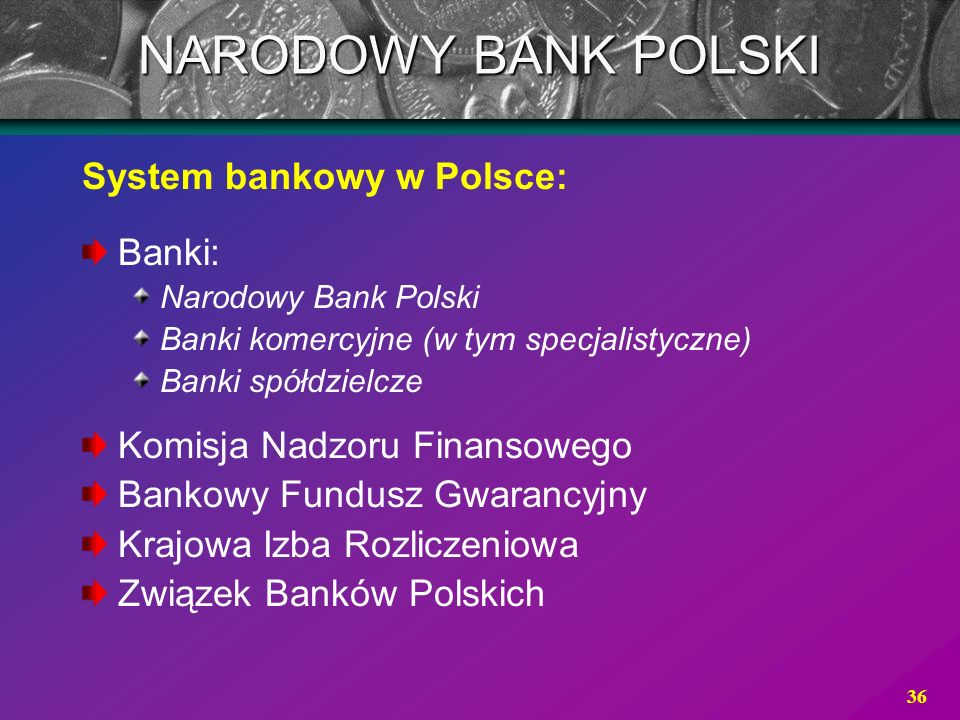 36 System bankowy w Polsce: Banki: Narodowy Bank Polski Banki komercyjne (w tym specjalistyczne) Banki spółdzielcze Komisja Nadzoru Finansowego Bankow