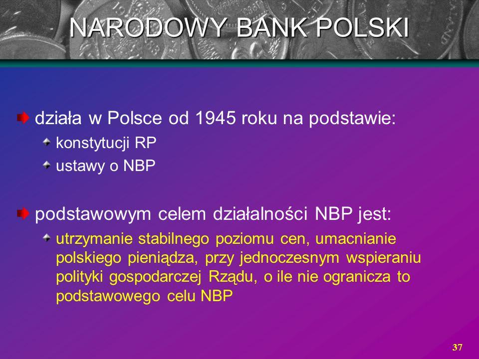 37 działa w Polsce od 1945 roku na podstawie: konstytucji RP ustawy o NBP podstawowym celem działalności NBP jest: utrzymanie stabilnego poziomu cen,