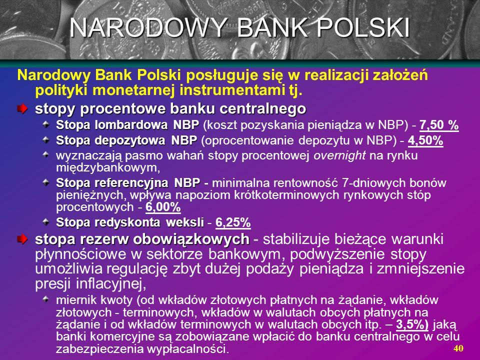 40 Narodowy Bank Polski posługuje się w realizacji założeń polityki monetarnej instrumentami tj. stopy procentowe banku centralnego Stopa lombardowa N
