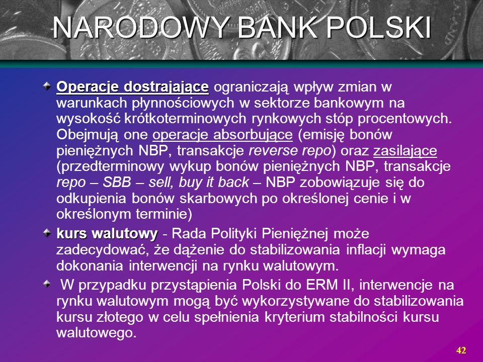 42 NARODOWY BANK POLSKI Operacje dostrajające Operacje dostrajające ograniczają wpływ zmian w warunkach płynnościowych w sektorze bankowym na wysokość