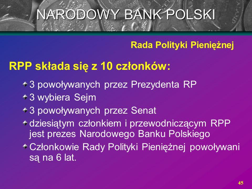 45 RPP składa się z 10 członków: 3 powoływanych przez Prezydenta RP 3 wybiera Sejm 3 powoływanych przez Senat dziesiątym członkiem i przewodniczącym R