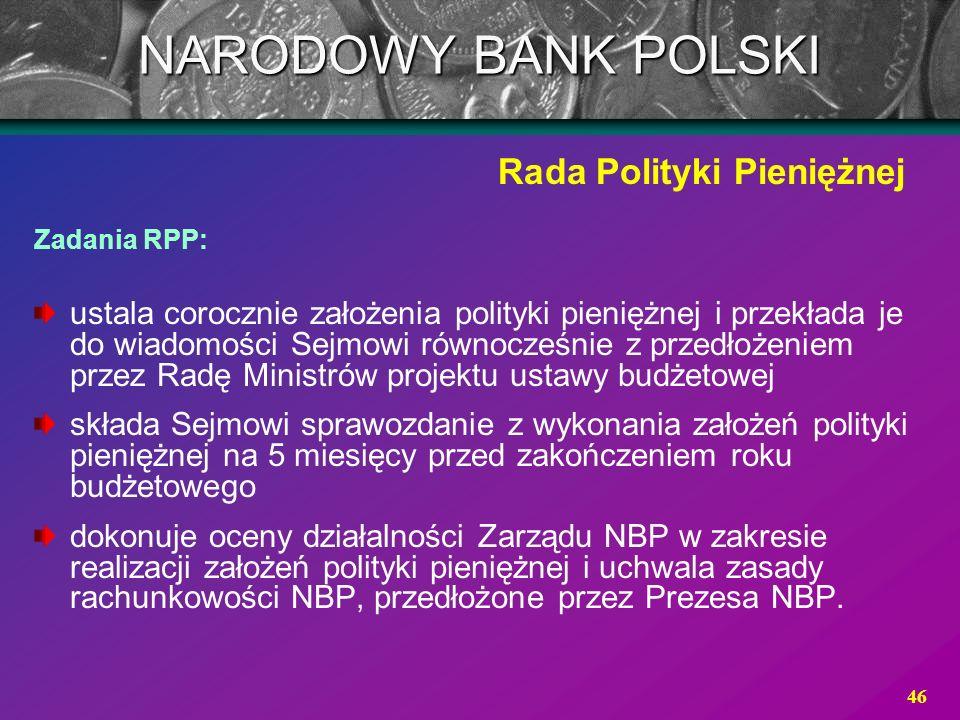 46 Zadania RPP: ustala corocznie założenia polityki pieniężnej i przekłada je do wiadomości Sejmowi równocześnie z przedłożeniem przez Radę Ministrów
