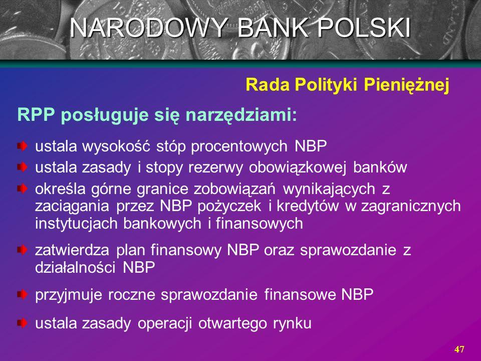 47 RPP posługuje się narzędziami: ustala wysokość stóp procentowych NBP ustala zasady i stopy rezerwy obowiązkowej banków określa górne granice zobowi