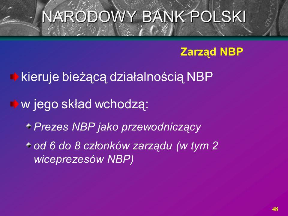 48 kieruje bieżącą działalnością NBP w jego skład wchodzą: Prezes NBP jako przewodniczący od 6 do 8 członków zarządu (w tym 2 wiceprezesów NBP) Zarząd