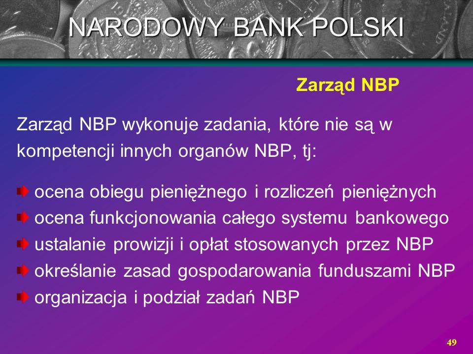 49 Zarząd NBP NARODOWY BANK POLSKI Zarząd NBP wykonuje zadania, które nie są w kompetencji innych organów NBP, tj: ocena obiegu pieniężnego i rozlicze