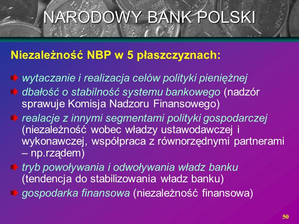 50 Niezależność NBP w 5 płaszczyznach: wytaczanie i realizacja celów polityki pieniężnej dbałość o stabilność systemu bankowego (nadzór sprawuje Komis