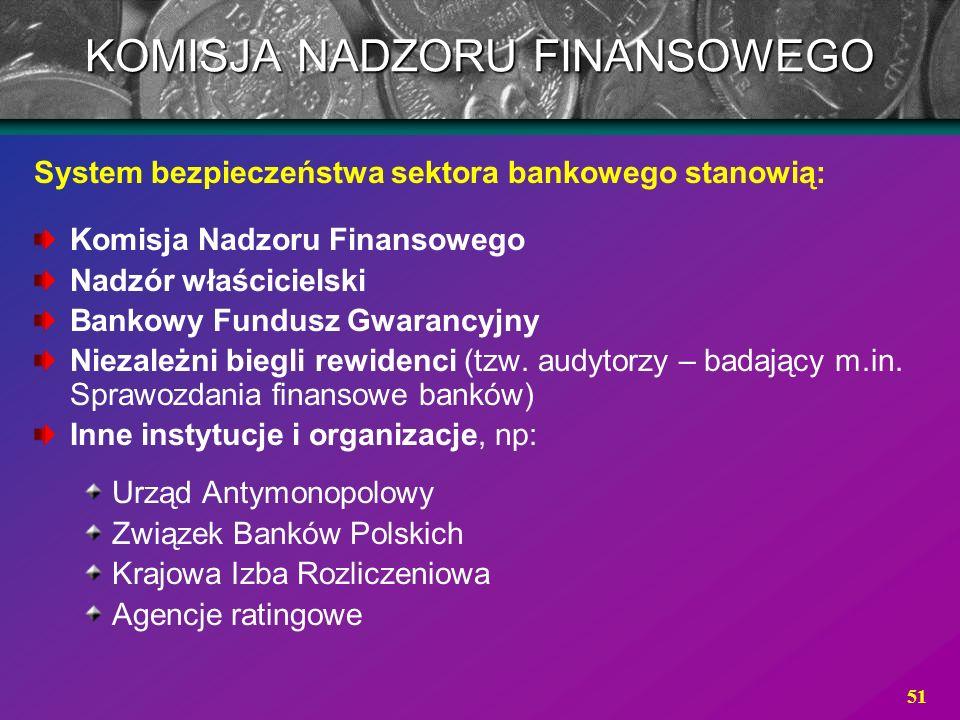 51 System bezpieczeństwa sektora bankowego stanowią: Komisja Nadzoru Finansowego Nadzór właścicielski Bankowy Fundusz Gwarancyjny Niezależni biegli re