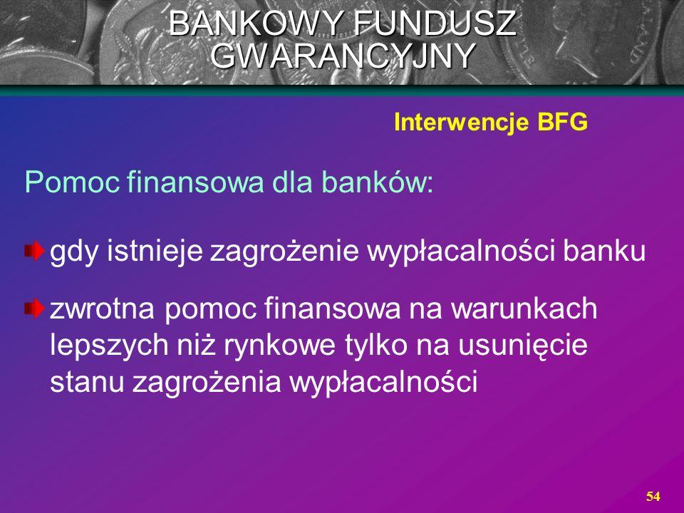 54 Pomoc finansowa dla banków: gdy istnieje zagrożenie wypłacalności banku zwrotna pomoc finansowa na warunkach lepszych niż rynkowe tylko na usunięci