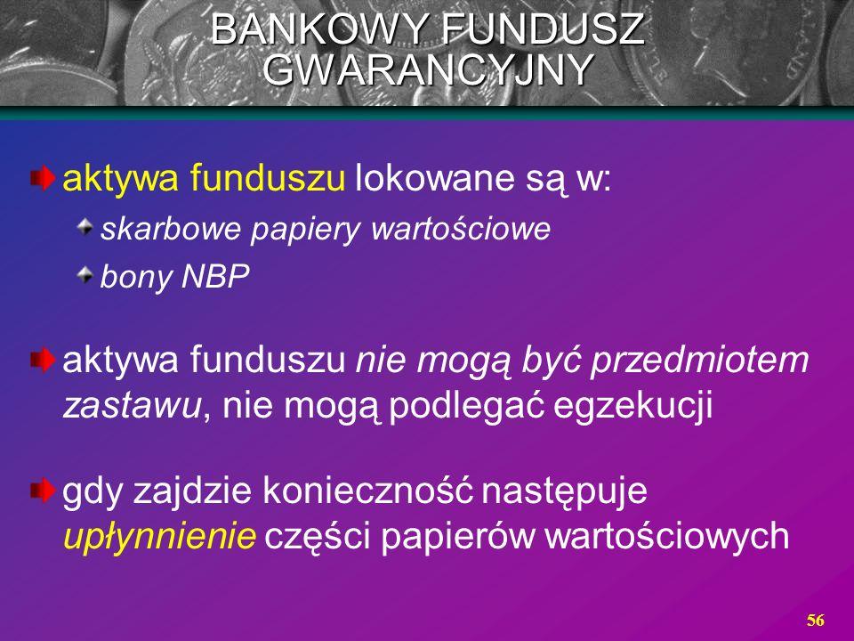 56 aktywa funduszu lokowane są w: skarbowe papiery wartościowe bony NBP aktywa funduszu nie mogą być przedmiotem zastawu, nie mogą podlegać egzekucji