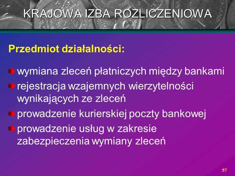 57 Przedmiot działalności: wymiana zleceń płatniczych między bankami rejestracja wzajemnych wierzytelności wynikających ze zleceń prowadzenie kuriersk
