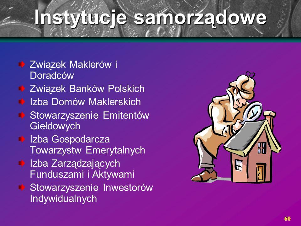 60 Instytucje samorządowe Związek Maklerów i Doradców Związek Banków Polskich Izba Domów Maklerskich Stowarzyszenie Emitentów Giełdowych Izba Gospodar
