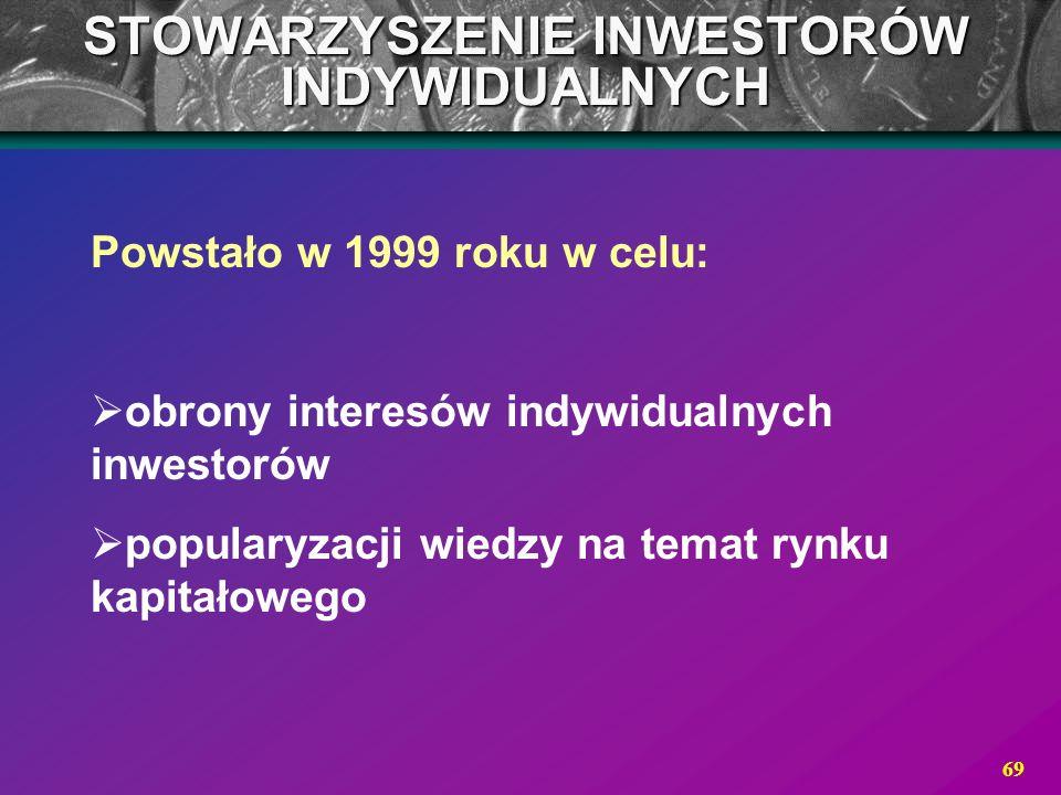 69 STOWARZYSZENIE INWESTORÓW INDYWIDUALNYCH Powstało w 1999 roku w celu: obrony interesów indywidualnych inwestorów popularyzacji wiedzy na temat rynk