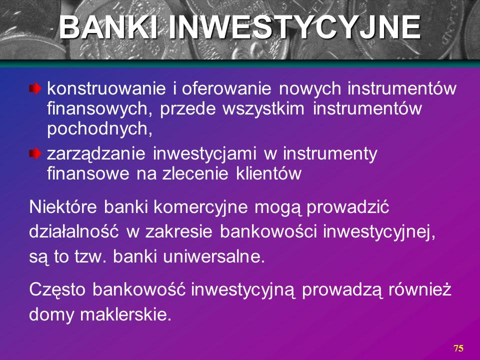 75 BANKI INWESTYCYJNE konstruowanie i oferowanie nowych instrumentów finansowych, przede wszystkim instrumentów pochodnych, zarządzanie inwestycjami w