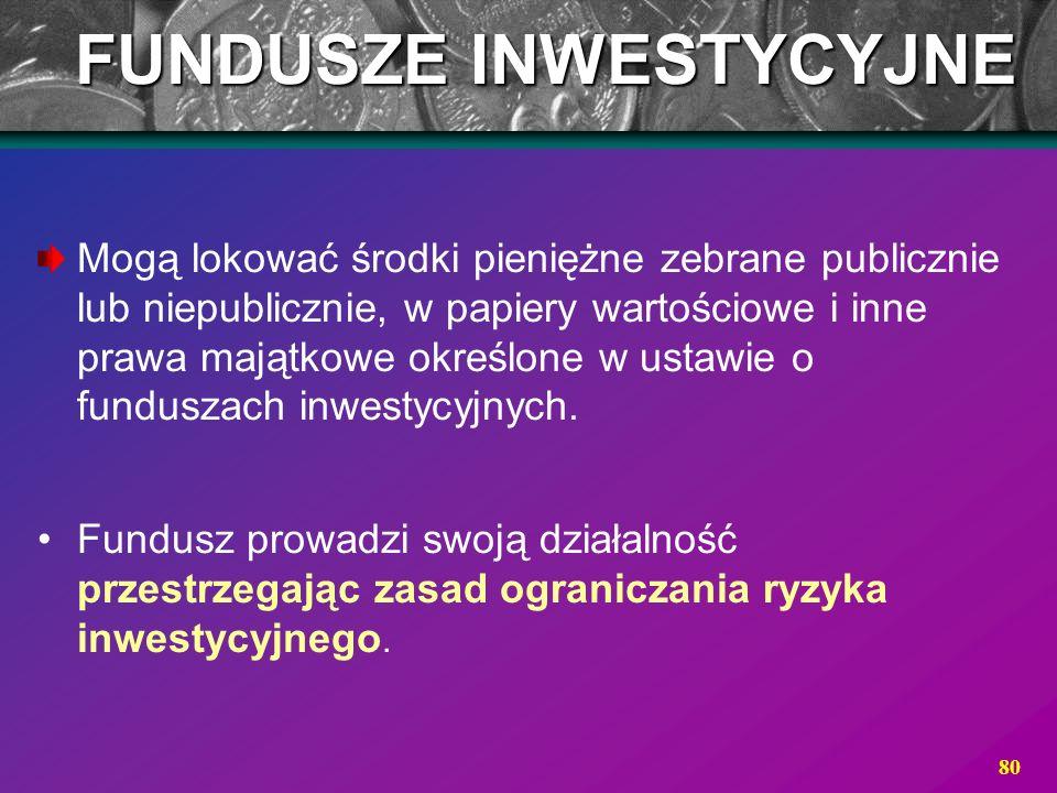 80 Mogą lokować środki pieniężne zebrane publicznie lub niepublicznie, w papiery wartościowe i inne prawa majątkowe określone w ustawie o funduszach i