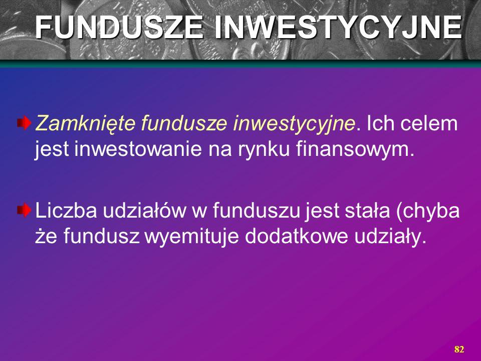 82 Zamknięte fundusze inwestycyjne. Ich celem jest inwestowanie na rynku finansowym. Liczba udziałów w funduszu jest stała (chyba że fundusz wyemituje