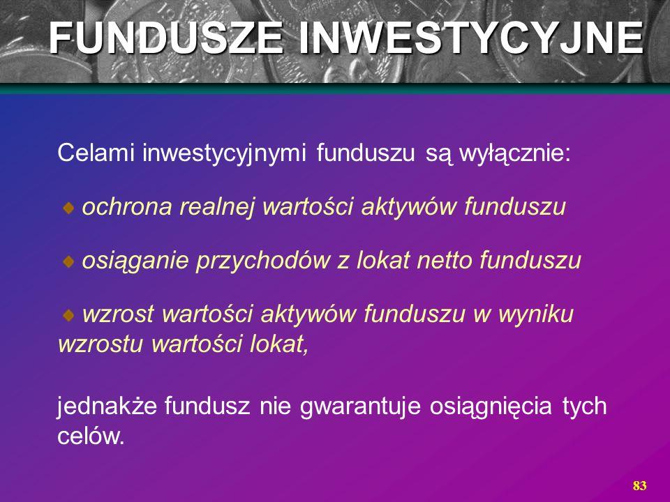 83 Celami inwestycyjnymi funduszu są wyłącznie: ochrona realnej wartości aktywów funduszu osiąganie przychodów z lokat netto funduszu wzrost wartości