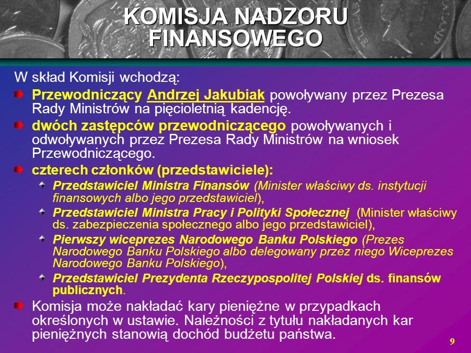 9 W skład Komisji wchodzą: Przewodniczący Andrzej Jakubiak powoływany przez Prezesa Rady Ministrów na pięcioletnią kadencję. dwóch zastępców przewodni