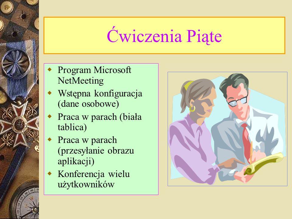 Ćwiczenia Piąte Program Microsoft NetMeeting Wstępna konfiguracja (dane osobowe) Praca w parach (biała tablica) Praca w parach (przesyłanie obrazu aplikacji) Konferencja wielu użytkowników