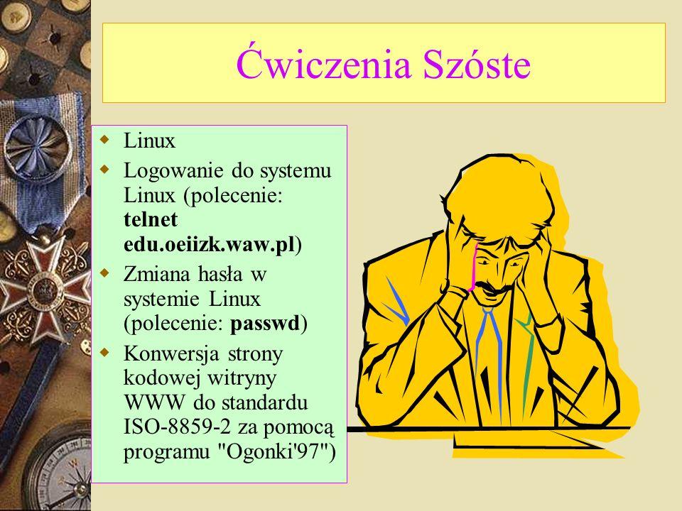 Ćwiczenia Szóste Linux Logowanie do systemu Linux (polecenie: telnet edu.oeiizk.waw.pl) Zmiana hasła w systemie Linux (polecenie: passwd) Konwersja strony kodowej witryny WWW do standardu ISO-8859-2 za pomocą programu Ogonki 97 )