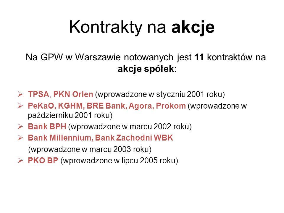 Kontrakty na akcje Na GPW w Warszawie notowanych jest 11 kontraktów na akcje spółek: TPSA, PKN Orlen (wprowadzone w styczniu 2001 roku) PeKaO, KGHM, B