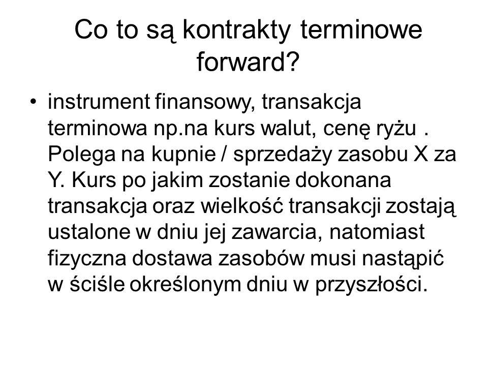 Co to są kontrakty terminowe forward? instrument finansowy, transakcja terminowa np.na kurs walut, cenę ryżu. Polega na kupnie / sprzedaży zasobu X za