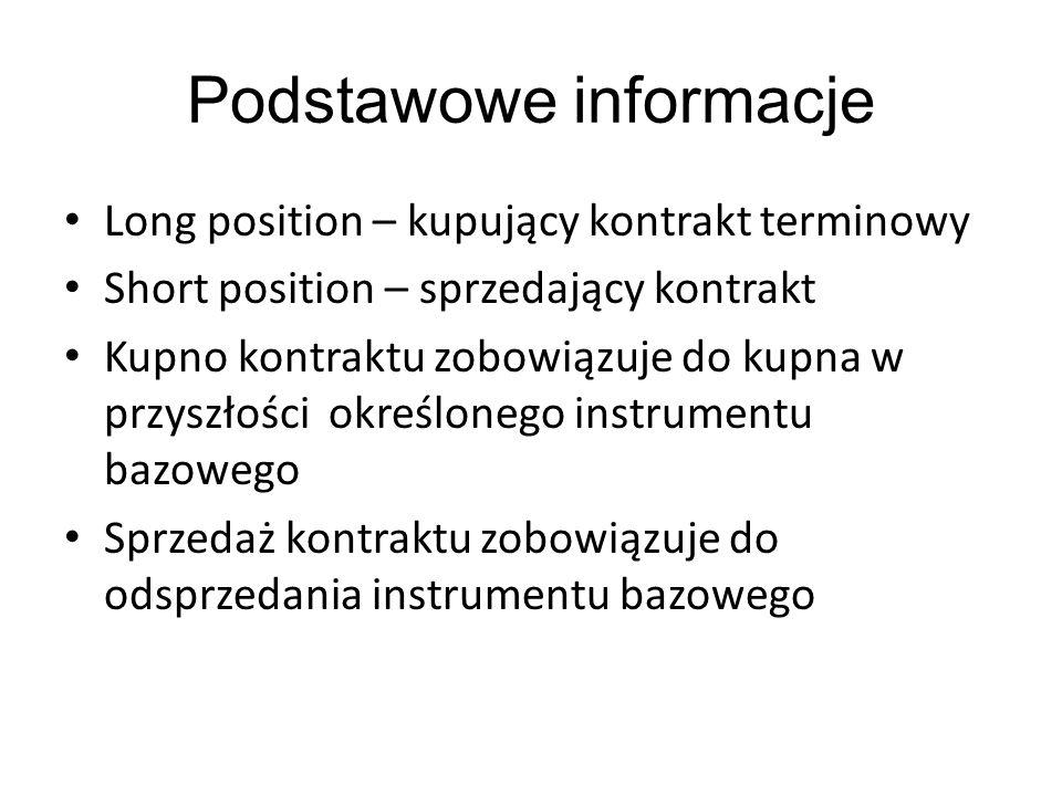 Podstawowe informacje Long position – kupujący kontrakt terminowy Short position – sprzedający kontrakt Kupno kontraktu zobowiązuje do kupna w przyszł