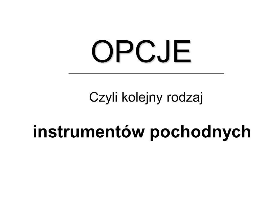 OPCJE Czyli kolejny rodzaj instrumentów pochodnych