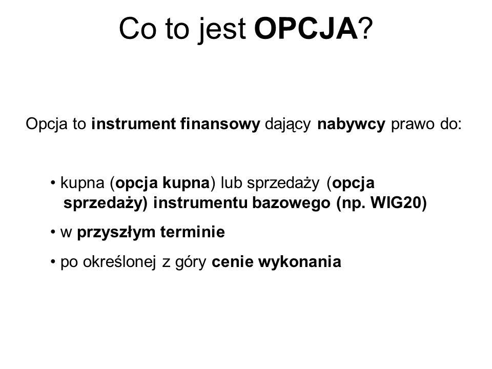 Co to jest OPCJA? Opcja to instrument dający nabywcy prawo do: kupna (opcja kupna) lub sprzedaży (opcja sprzedaży) w przyszłym terminie po określonej