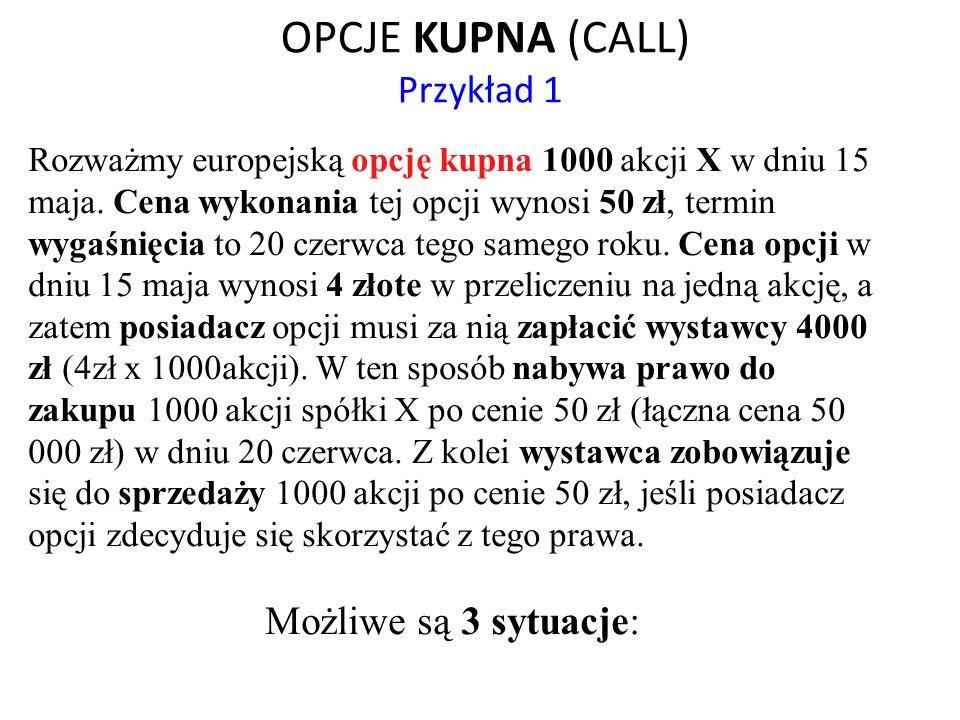 OPCJE KUPNA (CALL) Przykład 1 Rozważmy europejską opcję kupna 1000 akcji X w dniu 15 maja. Cena wykonania tej opcji wynosi 50 zł, termin wygaśnięcia t