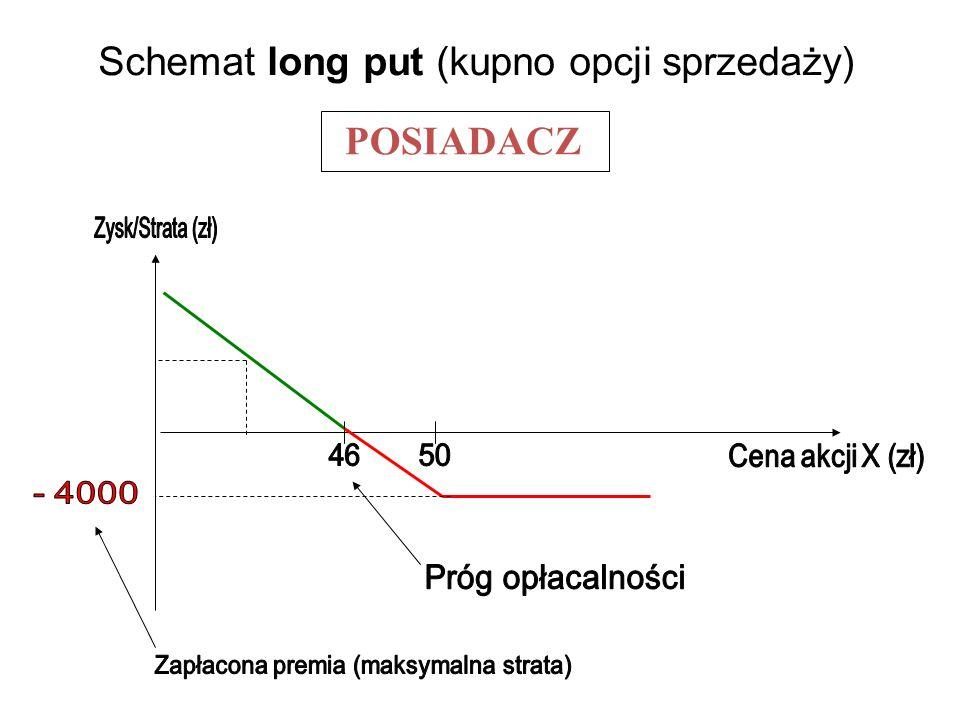 Schemat long put (kupno opcji sprzedaży) POSIADACZ