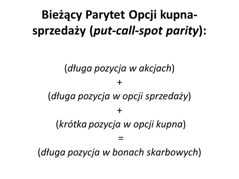 Bieżący Parytet Opcji kupna- sprzedaży (put-call-spot parity): (długa pozycja w akcjach) + (długa pozycja w opcji sprzedaży) + (krótka pozycja w opcji