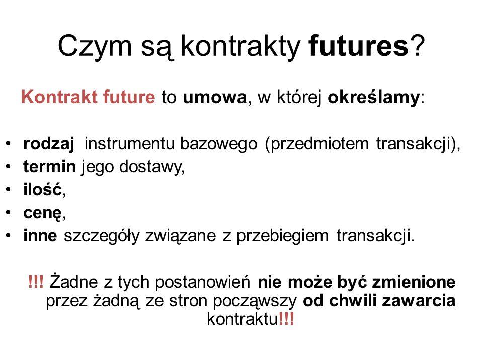 Czym są kontrakty futures? Kontrakt future to umowa, w której określamy: rodzaj instrumentu bazowego (przedmiotem transakcji), termin jego dostawy, il