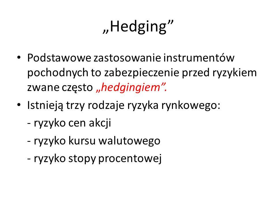 Hedging Podstawowe zastosowanie instrumentów pochodnych to zabezpieczenie przed ryzykiem zwane często hedgingiem. Istnieją trzy rodzaje ryzyka rynkowe