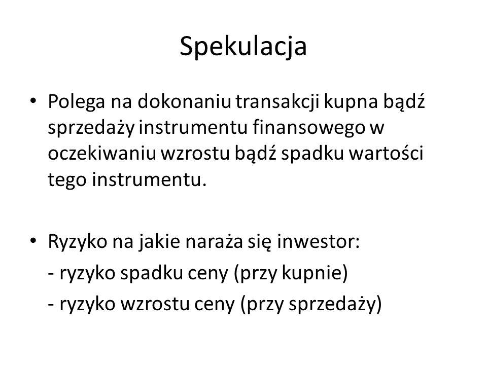 Spekulacja Polega na dokonaniu transakcji kupna bądź sprzedaży instrumentu finansowego w oczekiwaniu wzrostu bądź spadku wartości tego instrumentu. Ry