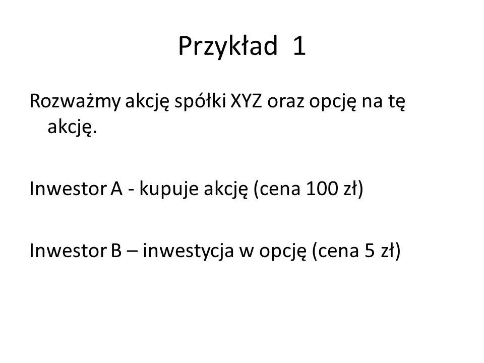 Przykład 1 Rozważmy akcję spółki XYZ oraz opcję na tę akcję. Inwestor A - kupuje akcję (cena 100 zł) Inwestor B – inwestycja w opcję (cena 5 zł)