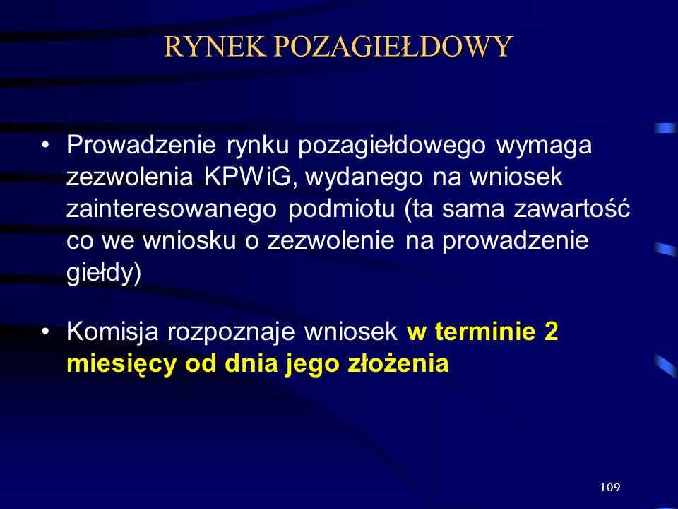 109 Prowadzenie rynku pozagiełdowego wymaga zezwolenia KPWiG, wydanego na wniosek zainteresowanego podmiotu (ta sama zawartość co we wniosku o zezwole