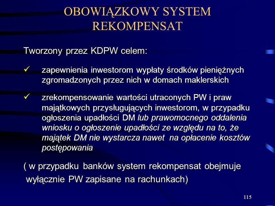 115 OBOWIĄZKOWY SYSTEM REKOMPENSAT Tworzony przez KDPW celem: zapewnienia inwestorom wypłaty środków pieniężnych zgromadzonych przez nich w domach mak